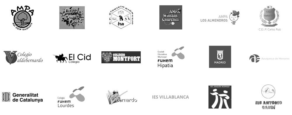 Escuelas y entidades con las que trabajamos