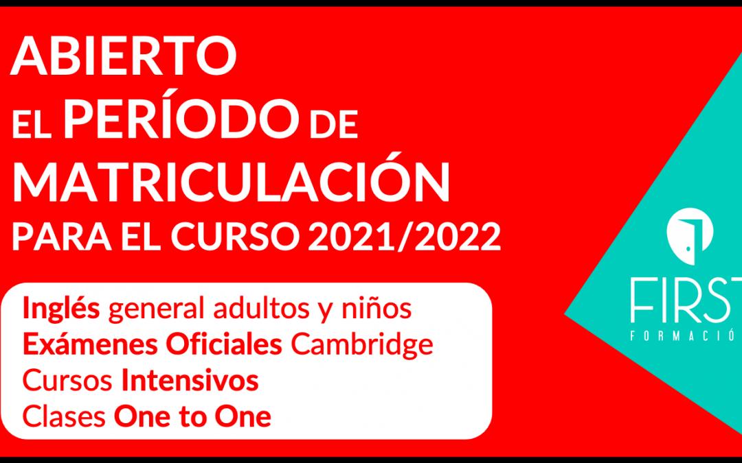 Abierto el período de matriculación para el curso 2021/2022
